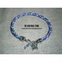 Kumihimo pulsera lila y azul