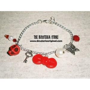 Pulsera charms rojos