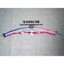3 pulseras en una en tonos rosa y lila