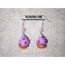 Pendientes cupcake lila y perla